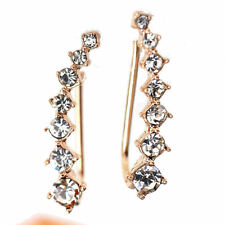 Ear Crawler Climber Earrings Crystal Curved Vine Bar Silver White or Rose Tone