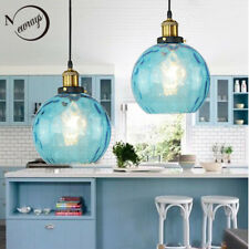 Loft Blue Color Glass Ball Shade Pendant Lights Ceiling Fixtures Hanging Lamp
