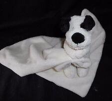 LITTLE JELLYCAT BLACK WHITE PUPPY DOG SECURITY BLANKET STUFFED ANIMAL PLUSH TOY