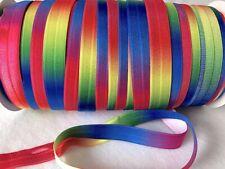 """Rainbow FOE Fold Over Elastic 15mm 5/8"""" Soft Shiny Headband 2 5 10 Metres"""