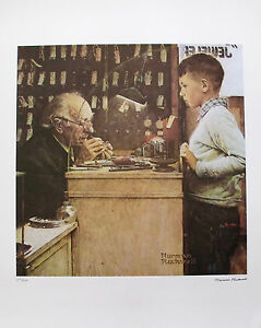 "NORMAN ROCKWELL ""THE WATCHMAKER"" 1978 Signed Limited Edition Lithograph Art"