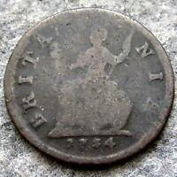 GREAT BRITAIN GEORGE II 1734 1 FARTHING - 1/4 PENNY, US COLONIAL COPPER