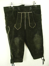 schwarze Kniebundhose Lederhose Trachtenhose urig eingetragen -LH004- Gr.46