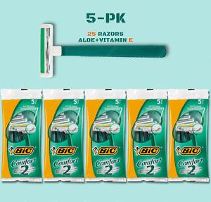 BiC Comfort 2 Men Razor Twin Blade Disposable Shaver Aloe+Vitamin-E (25 RAZORS)