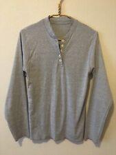 Women's Small Gray Long Sleeve Henley Crew Shirt Button Collar Raw Hem Tagless