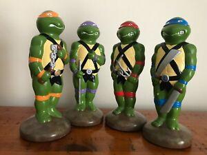 RARE! 4x Vintage 1990s Teenage Mutant Ninja Turtle Ceramic Statues TMNT Figures
