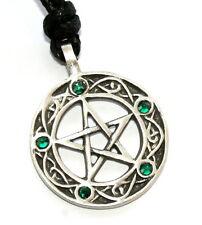 EMERALD GREEN May Birthstone Pagan PENTAGRAM Pewter PENDANT w/ Swarovski Crystal