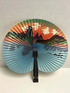 Vintage PEOPLE REPUBLIC OF CHINA Paper Folding Fan Metal Handle Water Nature Art