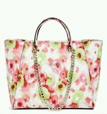 GUESS Nikki Classic Chain Tote Handbag Purse Pink Floral Print NWT