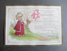 Antique CHRISTMAS Card Marcus Ward Kate Greenaway Girl Victorian Chromo Litho