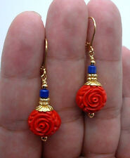 Exquisite Carved Red Cinnabar W. Blue Lapis Lazuli Gold Earrings --- Leverbacks