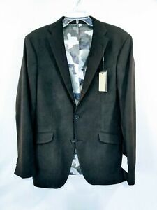Kenneth Cole Mens Blazer Deep Black Size 40L Ultra Faux-Suede Two Button $87 NWT