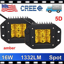 2X 16W CREE LED Spot Lights Driving Offroad Emergency 5D Lens Amber Flush Mount