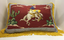 Western Cowgirl Pillow - Red, White & Blue Cotton Cover With Yellow Tassels