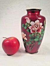 Vintage Japnese GINBARI Cloisonne Pigeon Blood Enamel Floral Vase