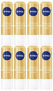 Lot of 8 Nivea Lip Care Balm 0.17 oz - Vanilla Buttercream - Sealed