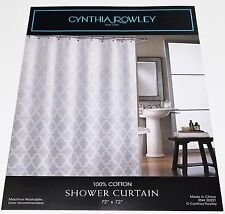 CYNTHIA ROWLEY GREY AND WHITE MEDALLION SHOWER CURTAIN NEW