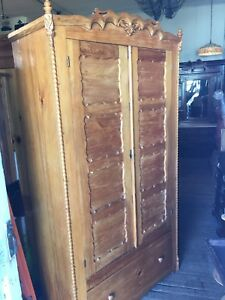 Antique 19th Century Double Door Pine Armoire,  Nice Old Original