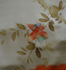 Japanese vintage kimono silk fabric Hand Painted Maple leaves