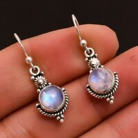 Holiday XMAS Gift Antique Round Fire Moonstone Gems Silver Dangle Earrings