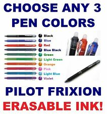 Any 3 FRIXION Pen Erasable Ink Pilot Clicker Green Orange Violet Purple Pink Red