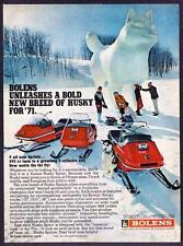 1971 Husky Dog Snow Sculpture & Bolens Husky Sprint Snowmobile photo vintage ad