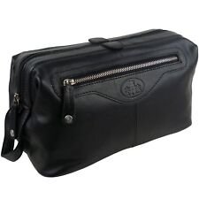 Mens Rowallan LARGE Quality Vintage Leather Wash Bag Travel Toiletries (Black)
