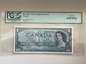 Canada BC-37bA 1954 $1 Replacement Note Gem New PCGS 65PPQ