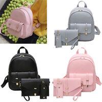 3pcs Women Girl Backpack Travel PU Leather Handbag Rucksack Shoulder School Bag