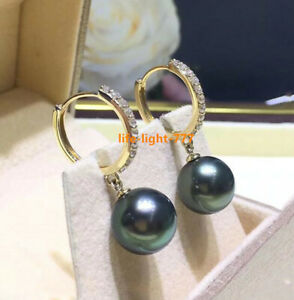 Gorgeous AAAA 8-9mm Real natural Tahitian black round pearl earrings 18k Gold
