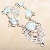 "Handmade Pale Blue Caribbean Larimar 925 Sterling Silver 19"" Necklace #N01304"