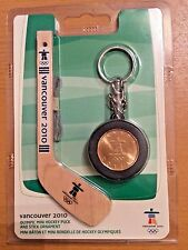 Vancouver 2010 Olympic Mini Hockey Puck And Stick Ornament Coin Key Chain Loonie