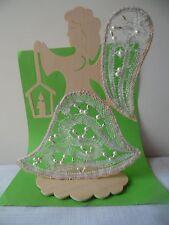 Klöppeln geklöppelter Engel mit Holzrahmen Klöppelbedarf Handarbeit Dekoration