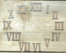 "1"" Rough Rusty Metal Vintage Roman Numeral Number Full Clock Face Set (1-12) DIY"