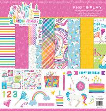 Scrapbooking Crafts 12X12 Paper Kit Cake Rainbow Sprinkles Unicorns Birthday