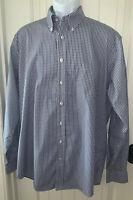 Lands End No Iron Pinpoint Oxford Shirt Blue Plaid Button Up Sz 16.5 37 TALL EUC