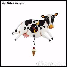 Funny & QUIRKY BESSY COW  Pendulum Allen Designs Wall Clock