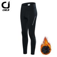 CHEJI Thermal Cycling Pants Women's Fleece Padded Bicycle Winter Pants Tights