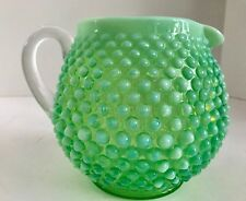 Vintage Fenton Art Glass Green Opalescent Hobnail Squat Pitcher