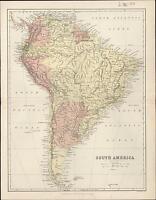 1860 Bartholomew Antique Map of South America