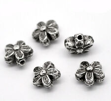 200PCs Hot Sell Silver Tone Floral&Flower Spacer Beads 10x10mm