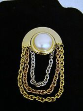 and Gold-Toned Chain Brooch/Pin, Beautiful Vintage Costume Faux Silver, Copper