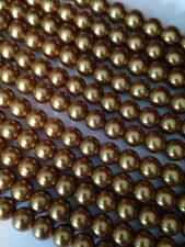 """15-16"""" Gold 10mm Round Glass Pearls Beads L@@K SALE"""