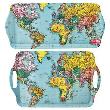 Set Of 2 Melamine World Traveller Map Medium Large Serving Trays Food Snack Tray