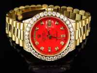 Mens 36 MM Rolex President 18038 18k Yellow Gold Day-Date Red 6.5 Ct Diamond
