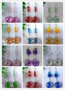 1Pair Multicolor Choice Crystal Glass Dried Flower Round Pendant Earrings HH6777