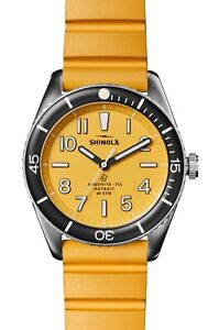 Shinola The Duck Rubber Strap 42mm Mens Watch Canary RRP $650