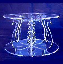 Rond Acrylique Transparent Cygnes Croix Piliers Stand De Cake, 10cm Haut, 15cm