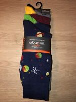 Mens Urban Knit Navy Patterned Socks 5 Pair Pack ONE SIZE. New RRP £19.99