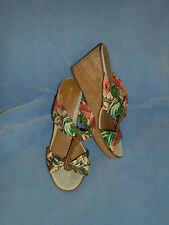 Women's Sperry Top-Sider Floral Print Textile Wedge Sandals Heels Size 9 1/2 M